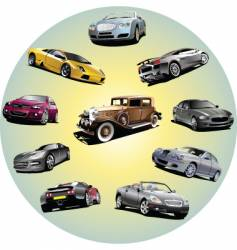 cars in circle vector image