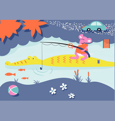 cartoon fishing child book mouse and vector image