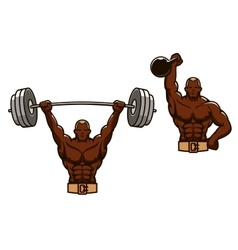 Cartoon muscular man lifting heavy weights vector