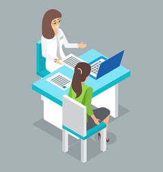 Checking health in clinic therapist or physician vector