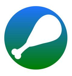 chicken leg sign white icon in bluish vector image