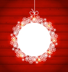Christmas round frame made in snowflakes on red vector image