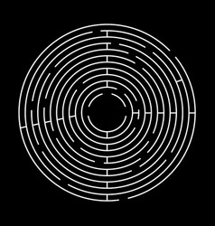 circle maze on black background top view vector image