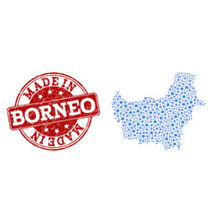 Collage map of borneo island with wheel vector