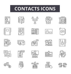 contacts line icons signs set outline vector image