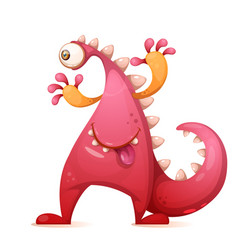 cute funny monster dino characters one eye vector image