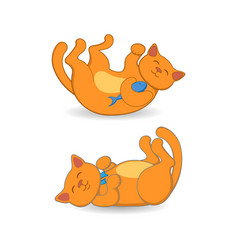 cute red cat lying on its back in two positions vector image