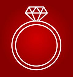 diamond ring line icon valentines day vector image