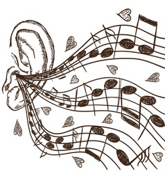 Ear and notes vector image