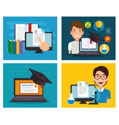 Education on line set icons vector