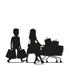 family making purchases silhouette vector image