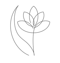 flower with leaf continuous line vector image