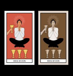 Four cups tarot cards young man in an attitude vector