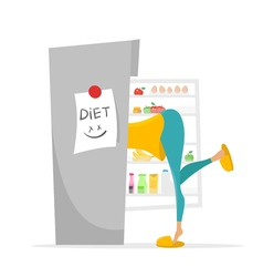 Girl searching something to eat in fridge vector