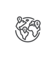 Global business line icon on white background vector