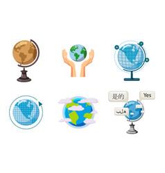 Global icon set cartoon style vector