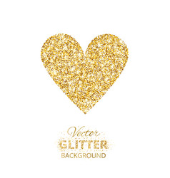 Golden glitter heart vector