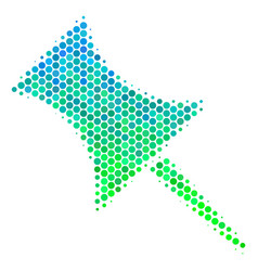 halftone blue-green pin icon vector image