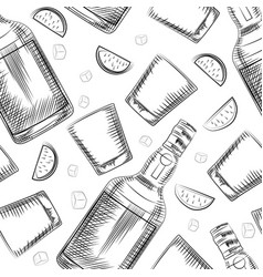Hand drawn old fashioned glass lime alcohol vector