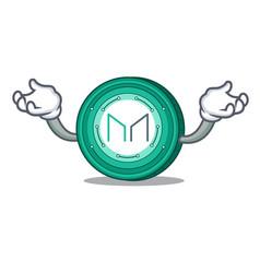 Hand up maker coin character cartoon vector