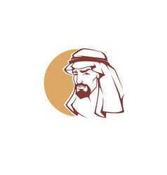 handsome arabian man for your logo label emblem vector image