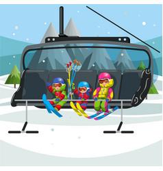 Happy cartoon kids riding in ski lift vector