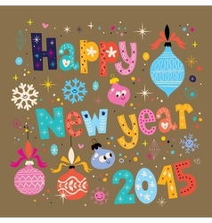 Happy New year 2015 retro greeting card 2 vector image