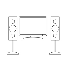 Home cinema with sound speaker icon vector