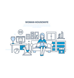 housewife in quiet environment knits on couch vector image