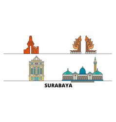 Indonesia surabaya flat landmarks vector