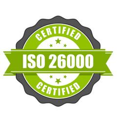 iso 26000 standard certificate badge - social resp vector image