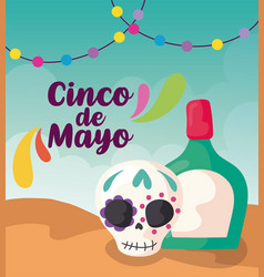 Label cinco de mayo with hat and tequila vector