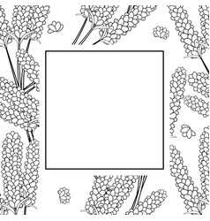 Lavender flower outline banner on white vector