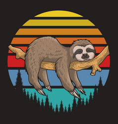 Lazzy sloth retro sunset vector