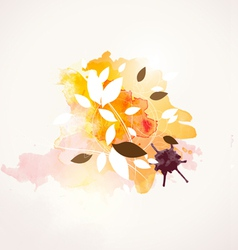 Leaf and watercolor paint background vector