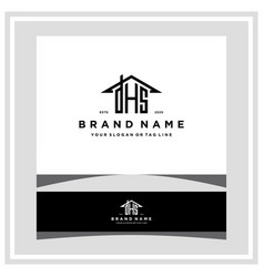 Letter dhs home roof logo design and business card vector