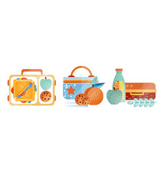 lunch boxes with various ingredients set food vector image