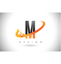 M letter logo with fire flames design and orange vector