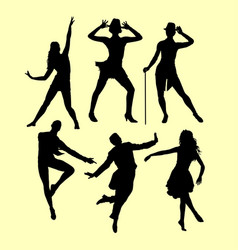 Man and woman dancing silhouette vector