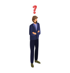 Man having question icon isometric style vector