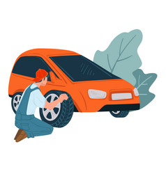 mechanics changing old car tyre shop or service vector image