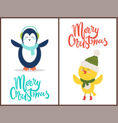 Merry christmas congratulation from happy birds vector