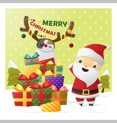 Merry Christmas Greeting card with Santa Claus 2 vector