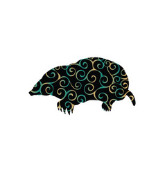 Mole insectivores mammal color silhouette animal vector