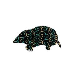 mole insectivores mammal color silhouette animal vector image