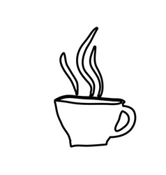 Monochrome contour hand drawn of hot coffee cup vector