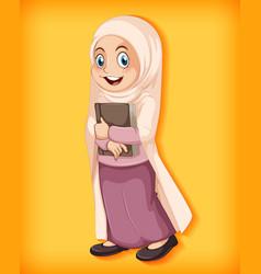 Muslim girl holding book vector