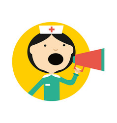 Nurse in uniform with megaphone round avatar icon vector