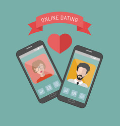 Online dating man and woman vector