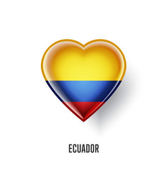 Patriotic heart symbol with ecuador flag vector